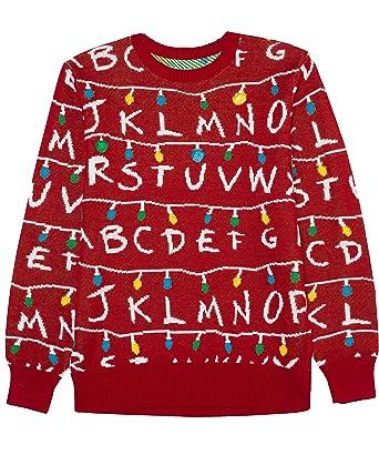Stranger Things Ugly Christmas Sweater.Amazon Com Stranger Things Men S Ugly Holiday Led Light Up