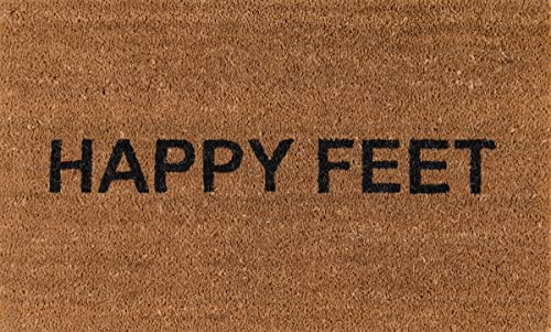 Novogratz Aloha Collection Happy Feet Doormat, 1 6 x 2 6 , Natural Brown