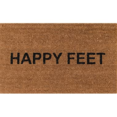 Novogratz Aloha Collection Happy Feet Doormat, 1'6  x 2'6 , Natural Brown