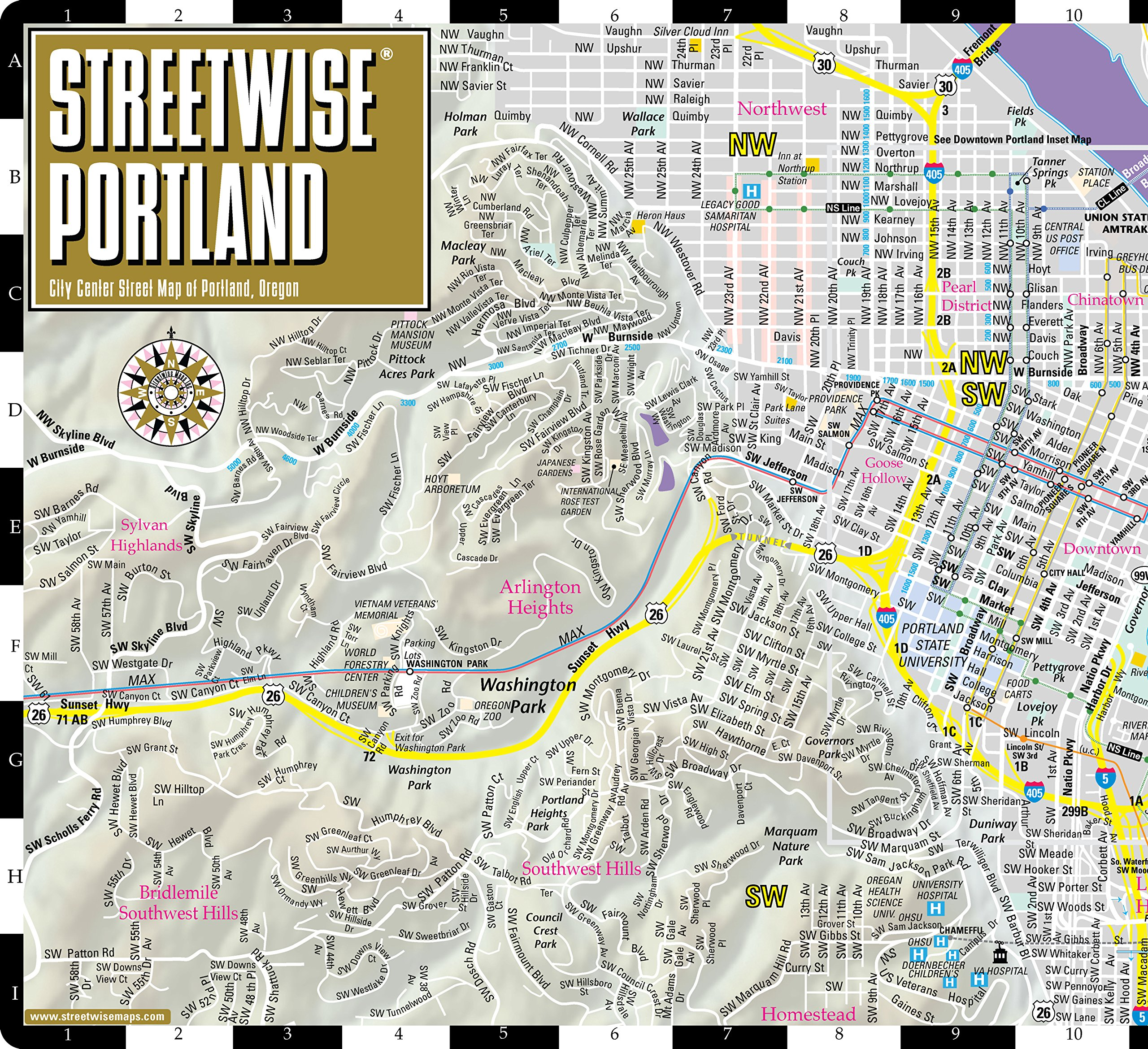 Streetwise Portland Map Laminated City Center Street Map