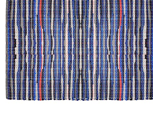 Cotton Craft – Hand Woven Reversible 100 Cotton Multi Color Chindi Rag Rug – 5 x 8 Feet – Rug is Made from Multi Color re-cycled Yarns, Actual Product May Vary in Color from The Image Shown