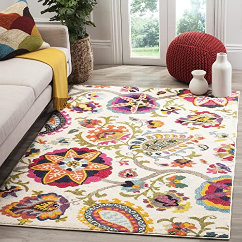 Safavieh Monaco Collection MNC229A Modern Colorful Floral Ivory and Multicolored Area Rug 8 x 10
