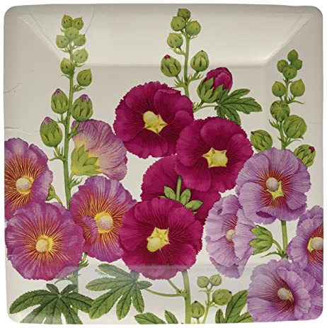 Entertaining with Caspari Hollyhocks Square Dinner Plates Pink 8-Pack & Amazon.com | Entertaining with Caspari Hollyhocks Square Dinner ...