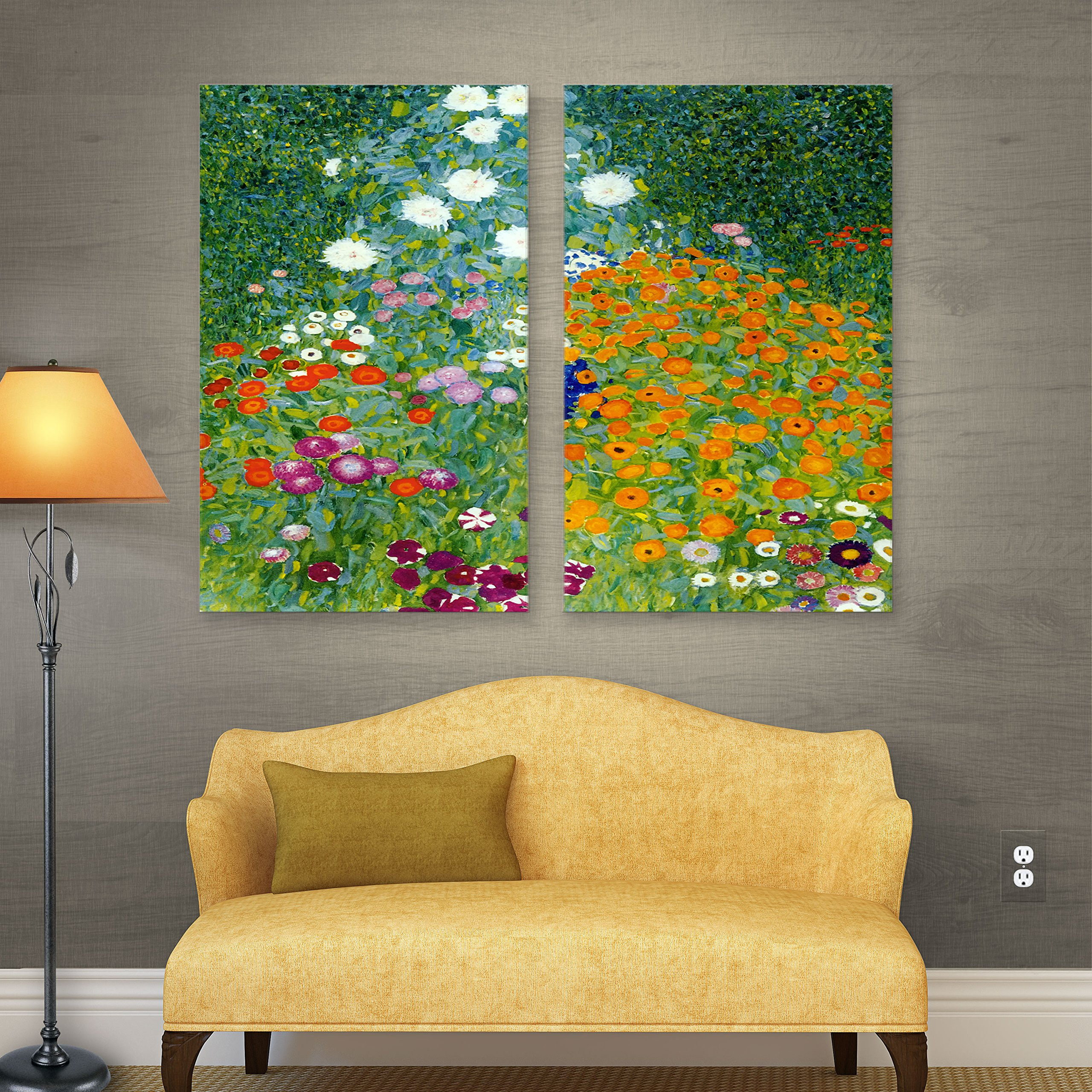 ArtWall Gustav Klimt 'Farm Garden' 2-Piece Gallery Wrapped Canvas Artwork, 32 by 48-Inch by Art Wall