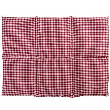 Cojín térmico de semillas (Calor y frio) | Saco térmico para microondas … (40x30 rojo-blanco con 6 compartimientos, semillas de lino)