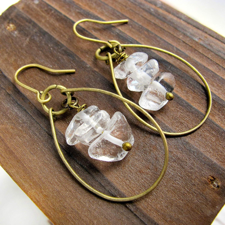 Raw Crystal Quartz Wire Hoop Earrings-Boho Earrings- Raw Stone Earrings