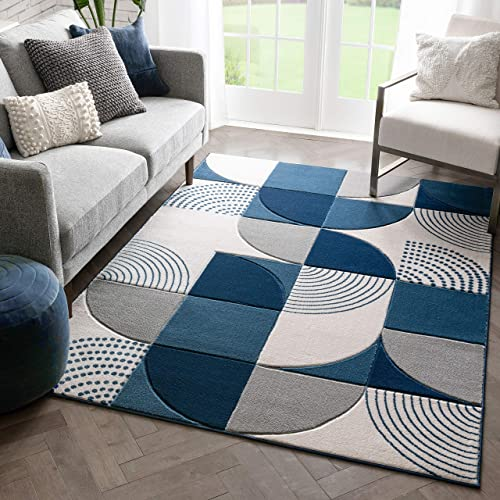 Well Woven Maggie Blue Modern Geometric Dots Boxes Pattern Area Rug 8×10 7 10 x 10 6