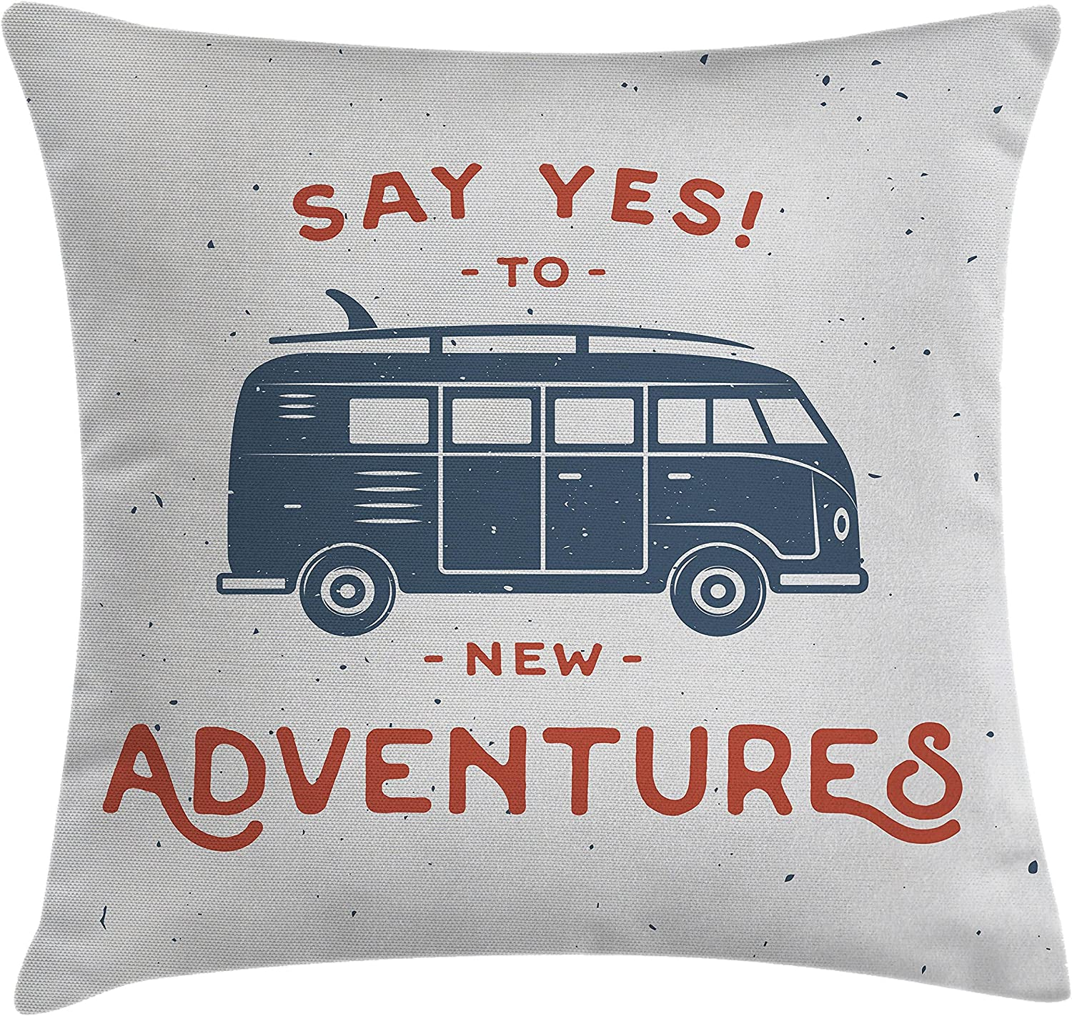 """Ambesonne Vintage Throw Pillow Cushion Cover, New Adventures Typography with Little Van Hippie Lifestyle Free Spirit Print, Decorative Square Accent Pillow Case, 18"""" X 18"""", Cadet Blue"""