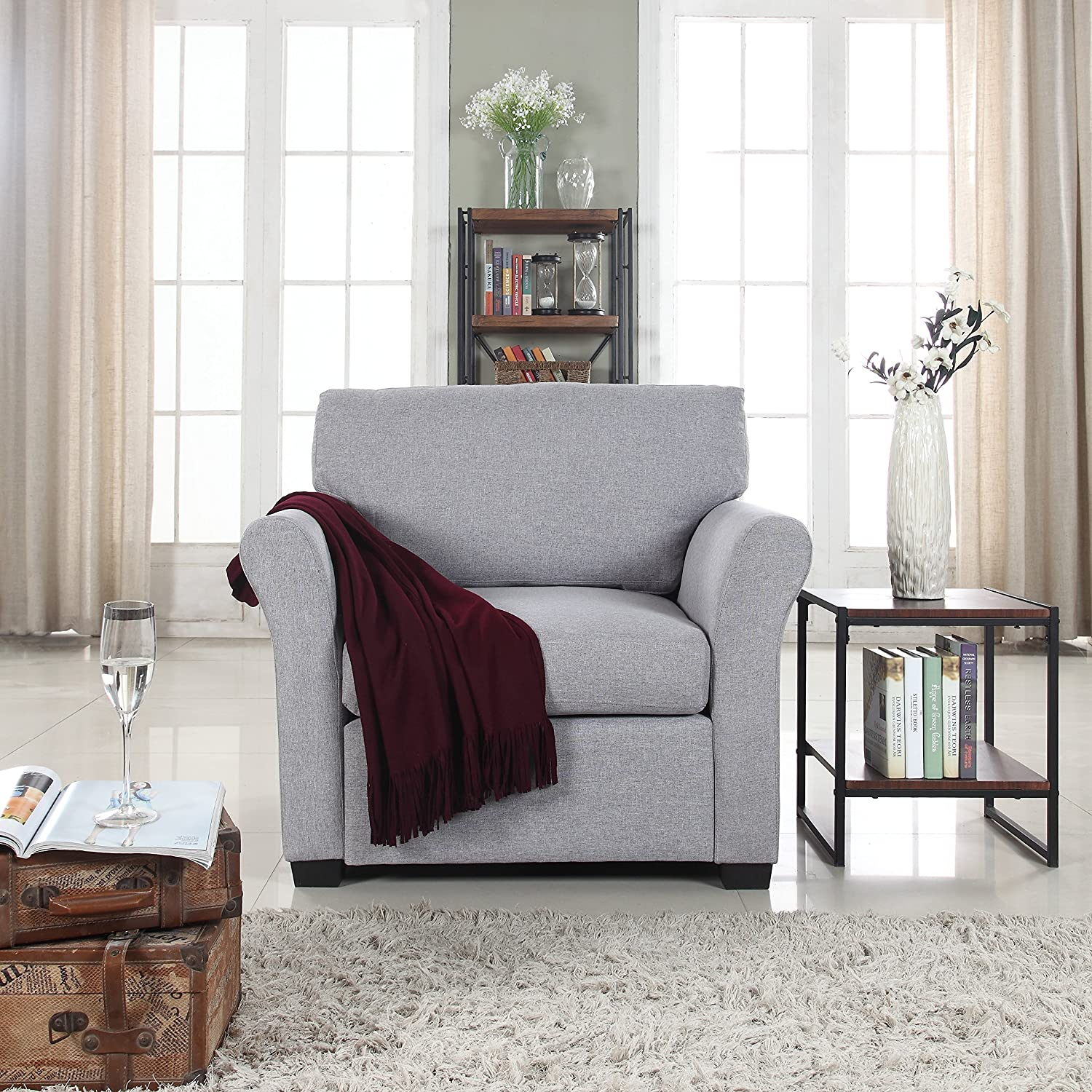 Amazon com classic and traditional linen fabric accent chair living room armchair light grey kitchen dining