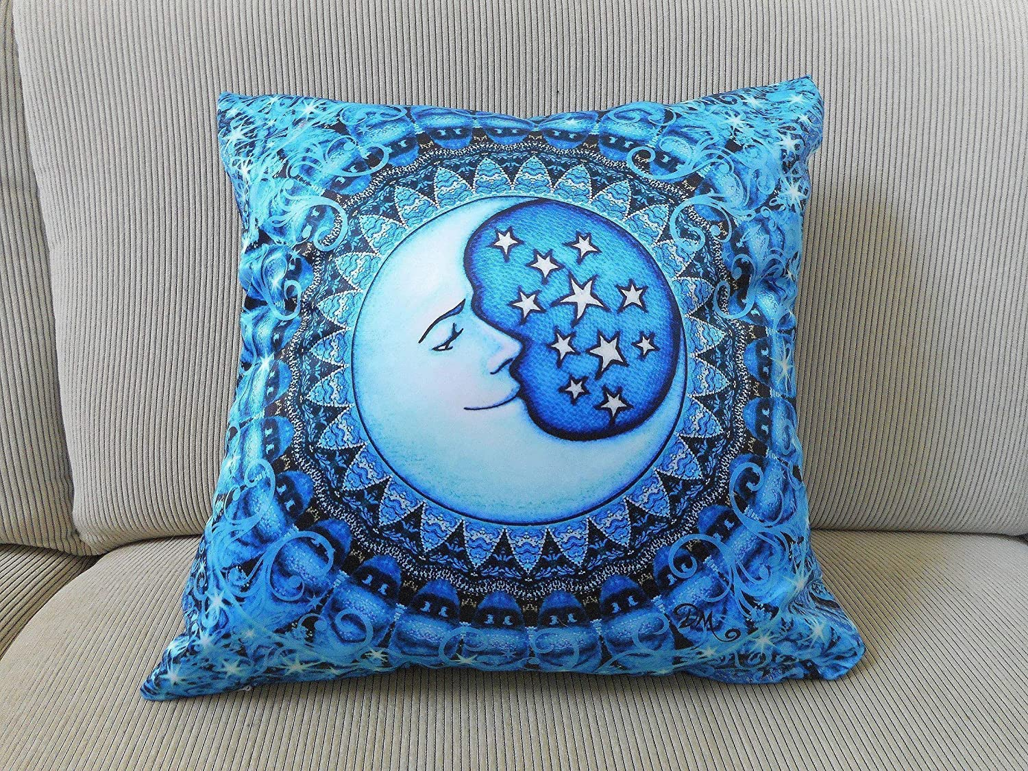 Blue Moon Celestial Accent Pillow Cover, 18