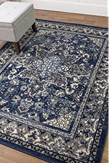 5 X 7 Area Rug Blue Gray Oriental Medallion For Living Room Dining