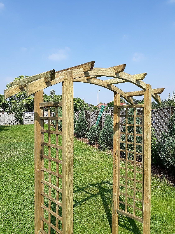naturholz-shop Eingangspergola 180x60x210 cm Pergola aus Holz mit  Rankelementen Rundbogen