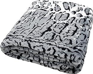 daydream K-9002 hochwertige Kuscheldecke im Schnee-Leoparden-Look aus Kunstfell, 150 x 200 cm