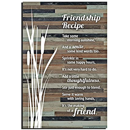 Lela & Ollie Friends Wood Plaque Inspiring Quotes (6 x 9 Inches) - Classy  Rustic Vertical Frame Wall and Tabletop Art Decoration with Easel and