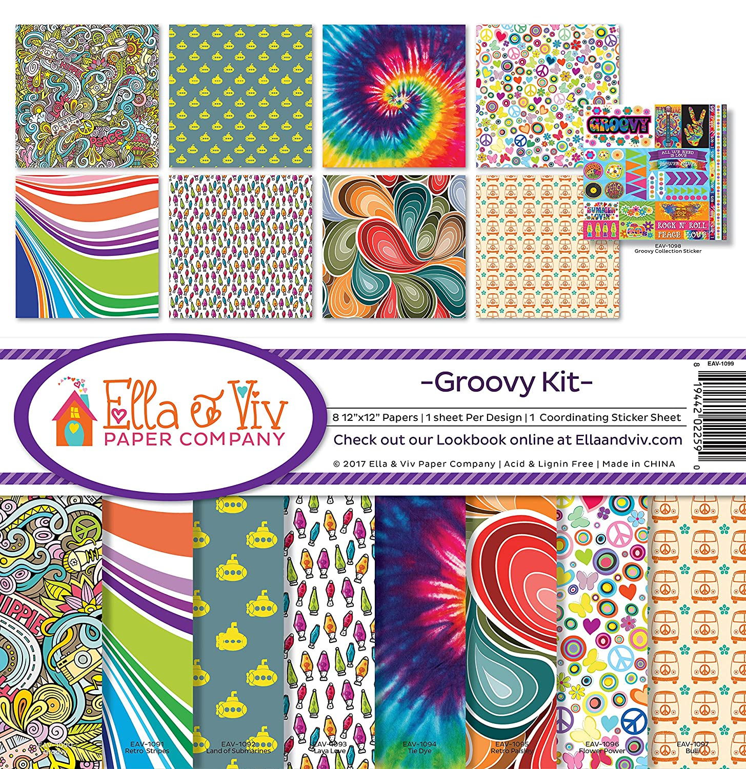 Ella & Viv by Reminisce Groovy Scrapbook Collection Kit EAV-1099