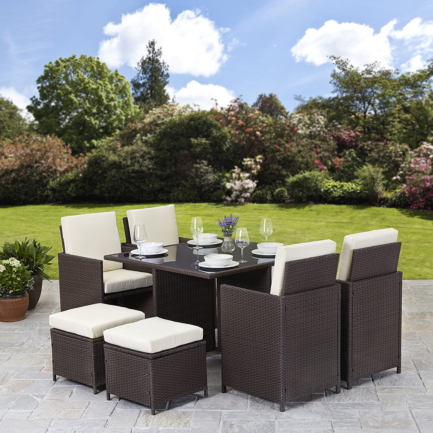 Rattan 4 seater cube table dining garden furniture set for Outdoor wicker furniture