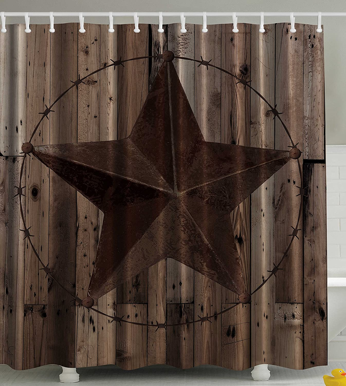Amazon.com: Western Decor Southwestern Primitive Shower Curtain Barbwire  Star In Wooden Plank Home Decorations And Fashion Design Decor Bathroom  Gifts For ...