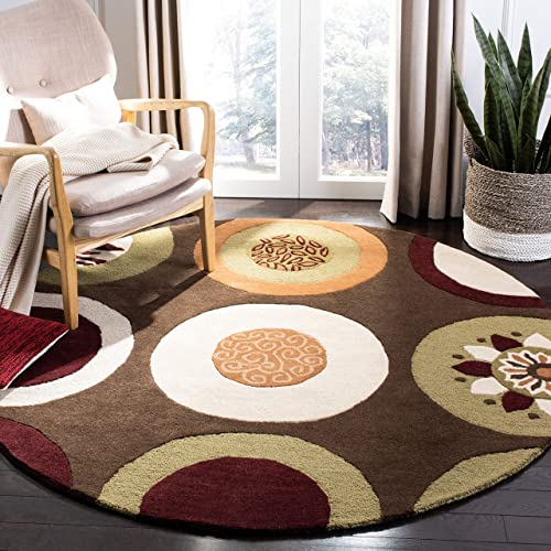 Safavieh Soho Collection SOH835A Handmade Brown and Multi Premium Wool Runner 2 6 x 12
