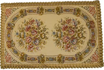 Elegant Table Runner, Placemat In Brocade, Rectangular 14 Inches By 21 Inches,  Lavish Floral