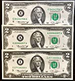 Two Dollar Bills 1976 (2 Notes) - Rare Bicentennial 1976 $2 Bills in Collectible Currency Holder (Varying Condition)