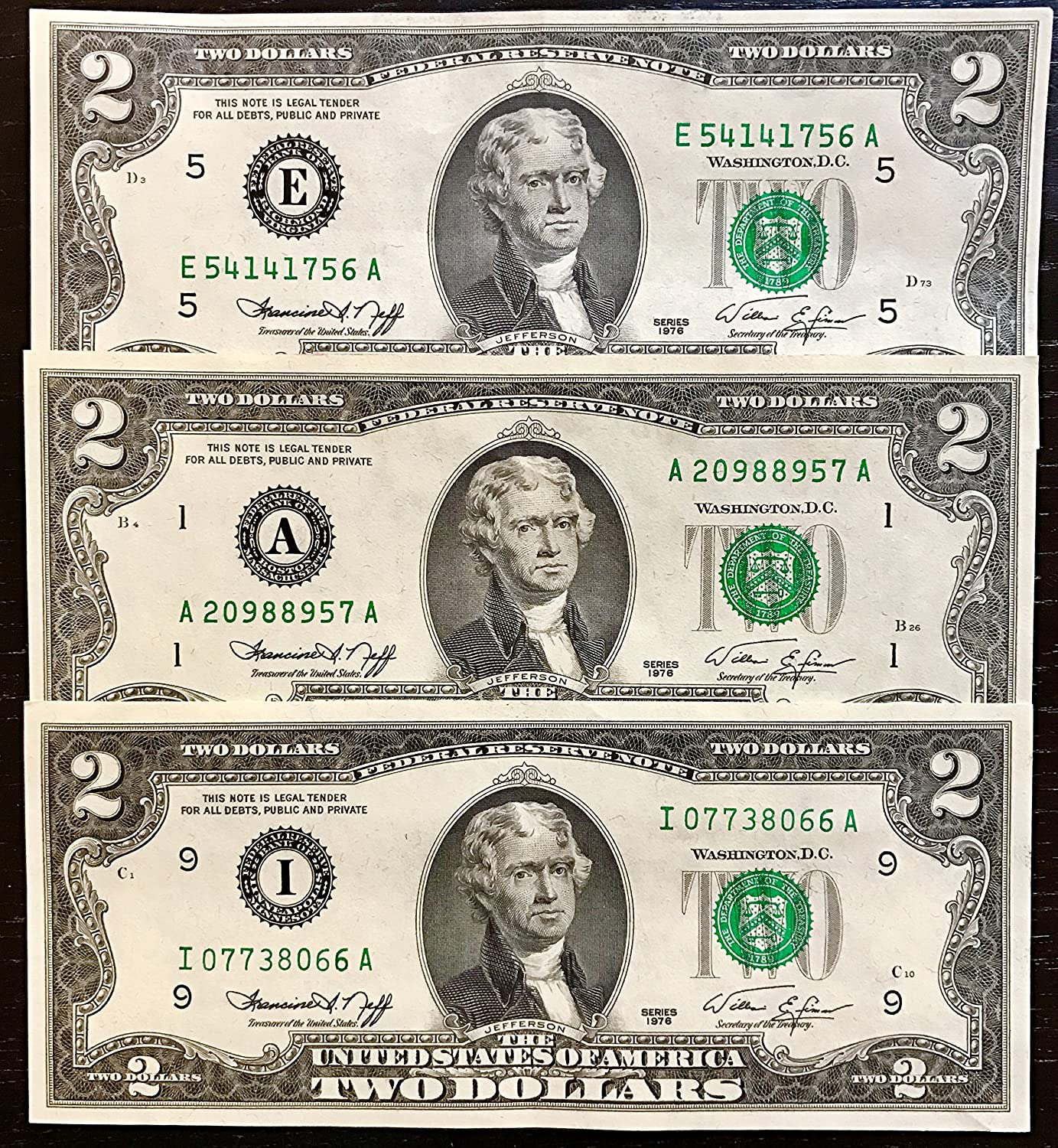 Amazon Us Treasury Two Dollar Bills 1976 2 Notes Rare