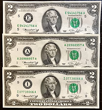U S Treasury Two Dollar Bills 1976 2 Notes Rare Bicentennial 1976 2 Bills