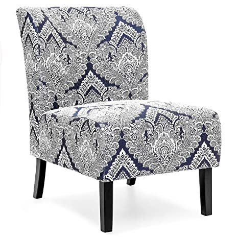 Marvelous Best Choice Products Polyester Upholstered Modern Armless Accent Chair Blue White Machost Co Dining Chair Design Ideas Machostcouk