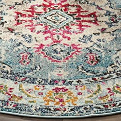 Safavieh Monaco Collection MNC243J Vintage Bohemian Light Blue and Fuchsia Distressed Round Area Rug (5' in Diameter)