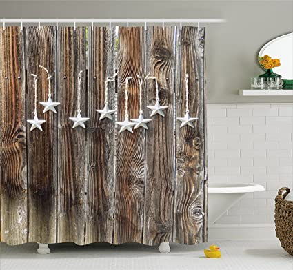 Ambesonne Primitive Country Shower Curtain Silver Colored Ornate Stars On Wooden Rustic Fence Cabin Design