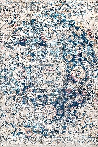 nuLOOM Joya Medallion Distressed Area Rug, 8 x 10 , Blue