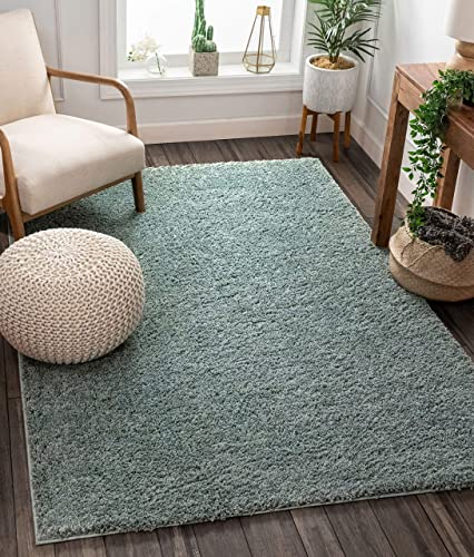 Solid Retro Modern Light Blue Shag 5×7 5 x 7 2 Area Rug Plain Plush Easy Care Thick Soft Plush Living Room Kids Bedroom