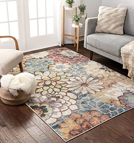 Well Woven Leeza Modern Multi Blue Floral Geometric Pattern Area Rug 8×10 7'10″ x 9'10″