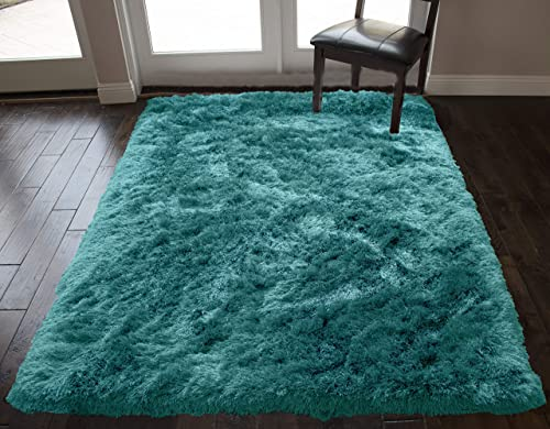 Solid Shag Shaggy Pattern Light Blue Dark Blue Colors Area Rug Carpet Rug 8' Feet x 10' Feet Hand-Woven Cozy Contemporary Modern Comfortable Soft Living Room Bedroom Decorative Designer Canvas Back