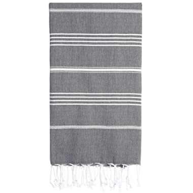 Cacala Pestemal Turkish Bath Towel 37x70 Pure Cotton Hard Coal