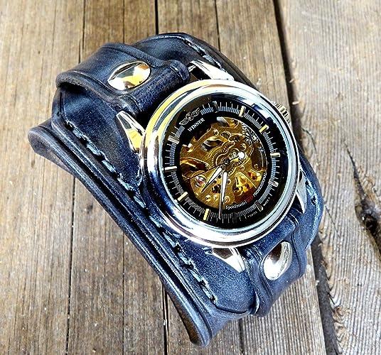 Dark Gray Leather Watch, Steampunk Watch, Skeleton Wrist Watch, Handmade  Watch, Leather