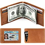 Men's RFID Blocking Genuine Leather SLIM Wallet Front Pocket Wallet With Money Clip