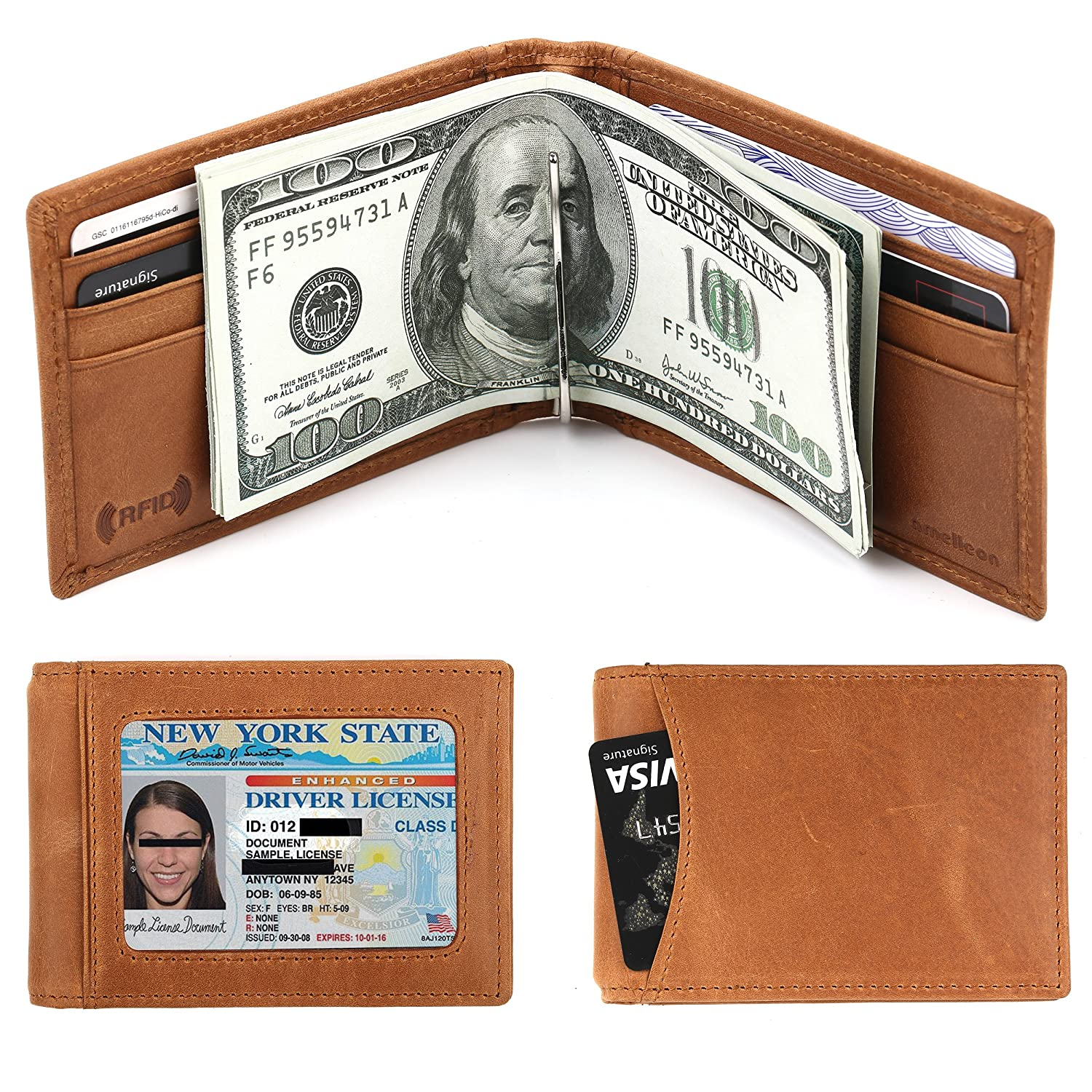 Men's RFID Blocking Genuine Leather SLIM Wallet Front Pocket Wallet With Money Clip