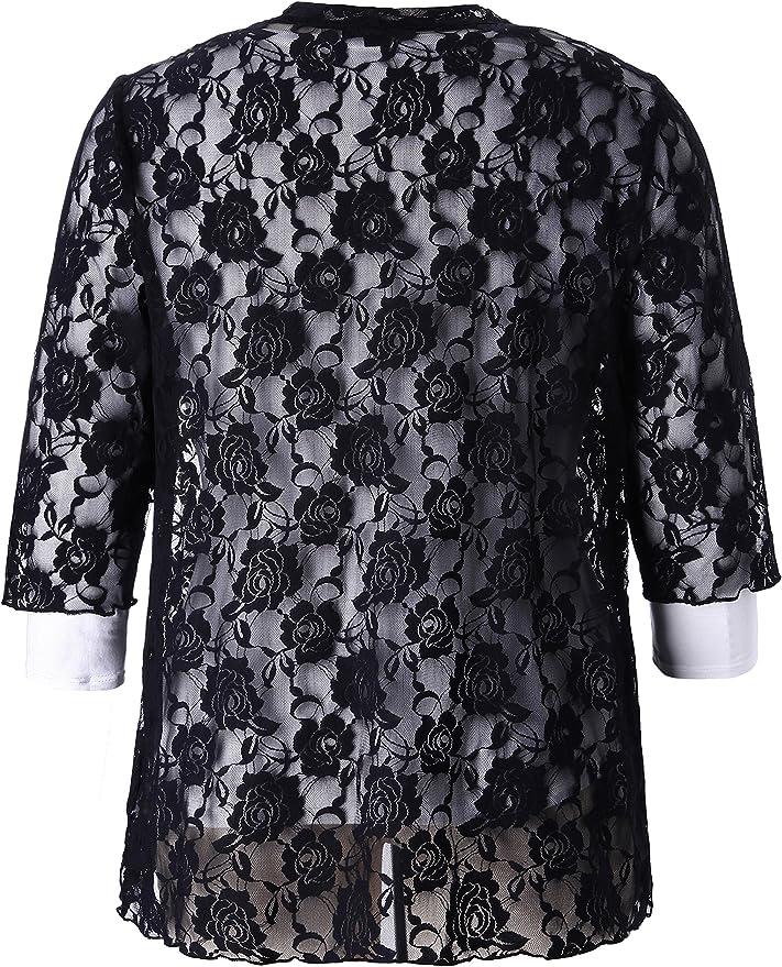 Chicwe Womens Chiffon Plus Size Kimono Kaftan Jacket with Trim Cuff /& Hem US12-30