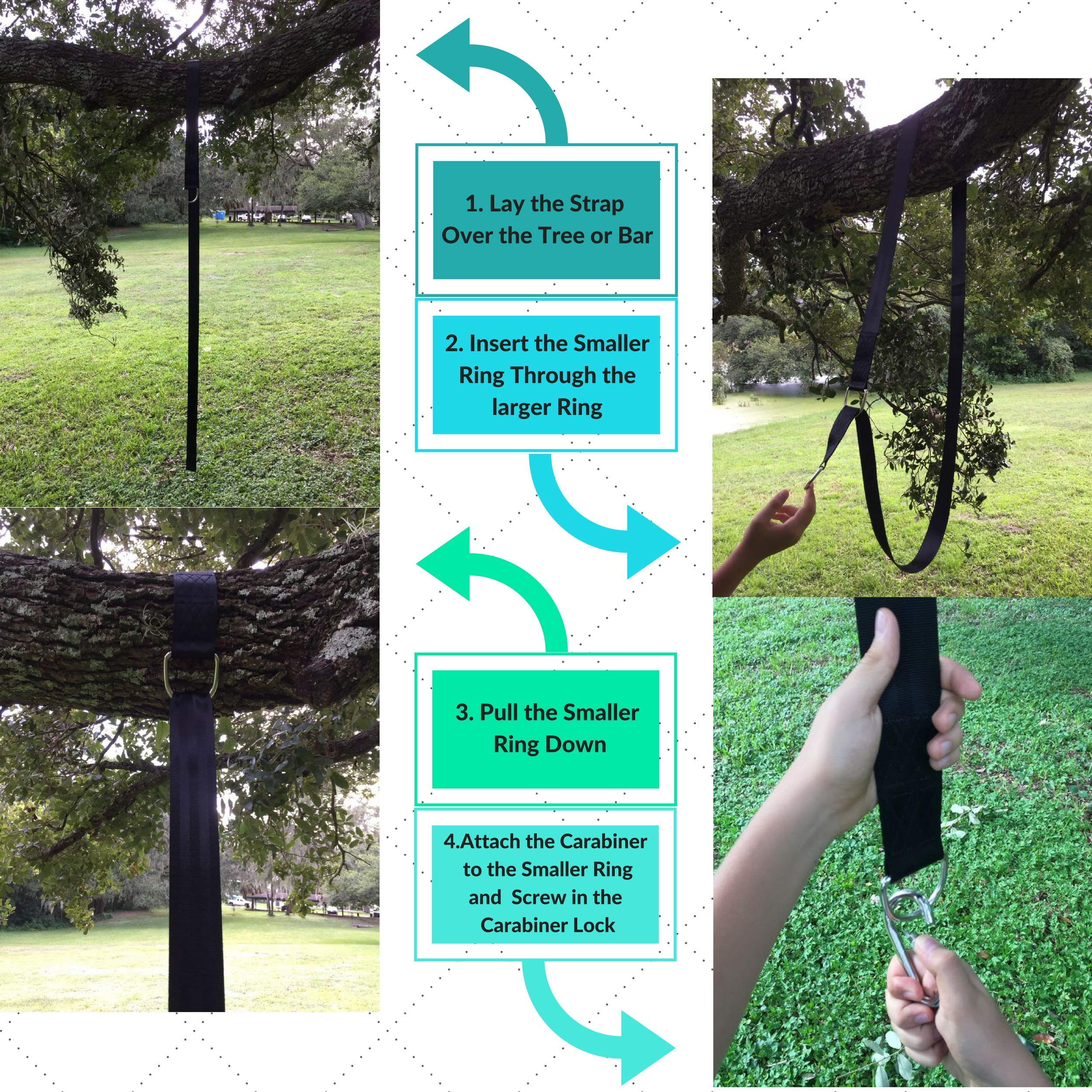 Family Forest Tree Swing Strap Hanging Kit - Two 8ft Adjustable Straps and 2 Stainless Steel Carabiners (SGS Certified) - Holds 4800 lbs - 100% Waterproof - Compatible with All Swing Types