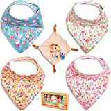 """Baby Bandana Drool Bibs for Drooling and Teething 4 Pack Gift Set for Girls """"Summer Floral"""" by TamTchu plus Small Rattle April The Giraffe Toy Blanky"""