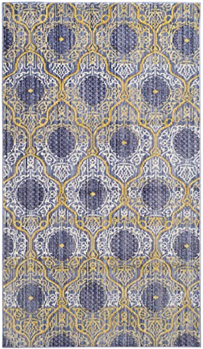 Safavieh Valencia Collection VAL106L Lavender and Gold Vintage Distressed Silky Polyester Area Rug 3 x 5