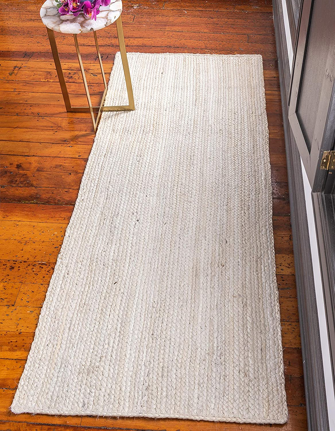 White 3' x 6' Runner Unique Loom Braided Jute Collection Hand Woven Natural Fibers Navy bluee Runner Rug (3' x 6')