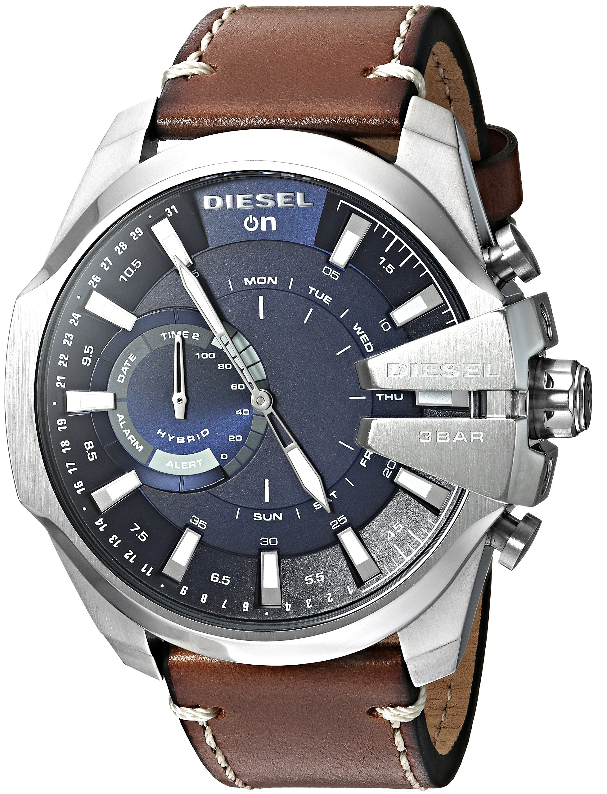 Diesel Men's Stainless Steel Hybrid Watch with Leather Band Strap, Brown, 24 (Model: DZT1009)