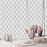 Papier Peint Cuir Blanc 274,5 x 254 cm luxe optique 3D diamant matelassé paillettes Photo Mural Tableaux Muraux Déco Colle y compris livingdecoration