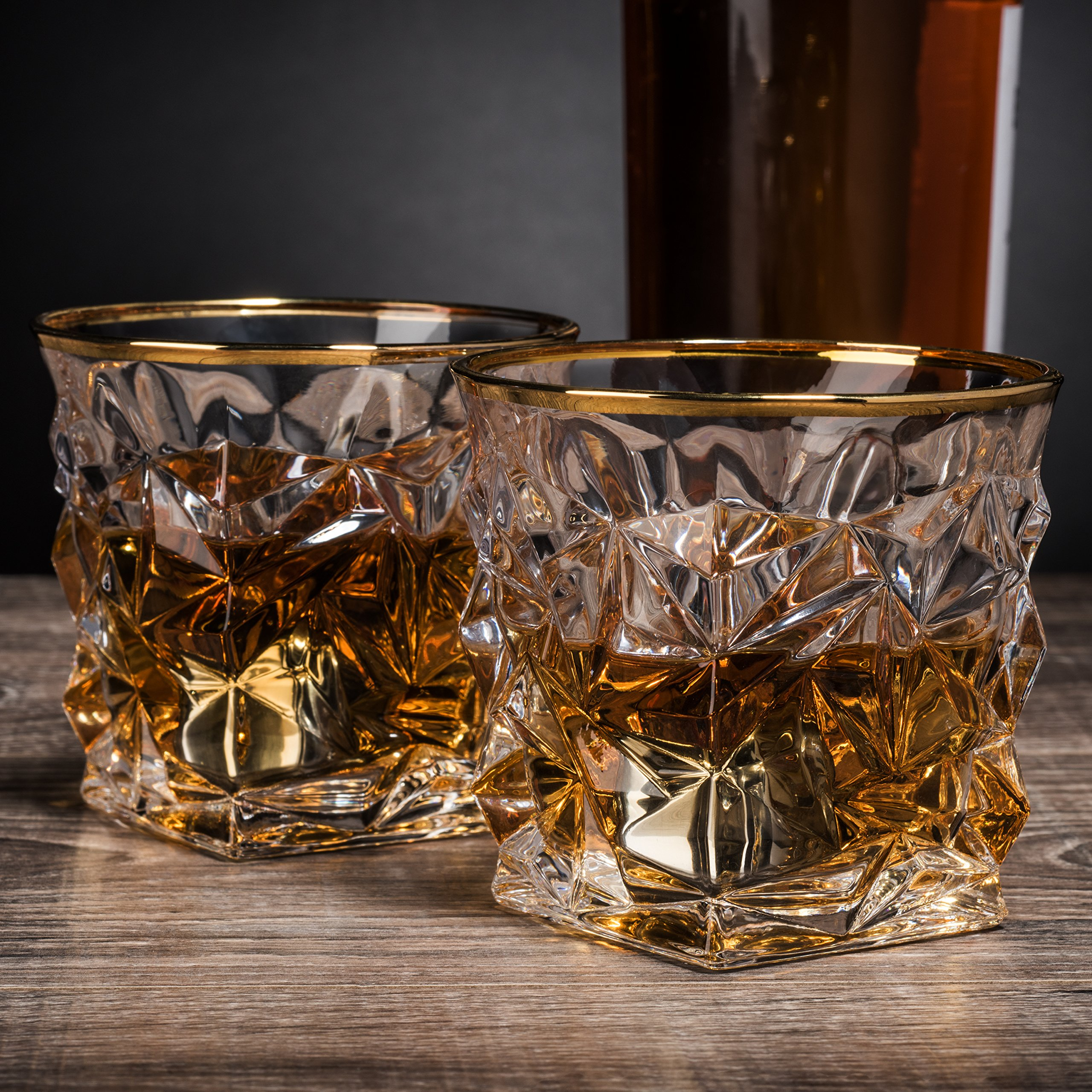 Posh Five Whiskey Glasses Set of 6 Diamond Scotch Glasses + 4 Stainless Steel Whiskey Stones by Posh Five Trading Co (Image #2)
