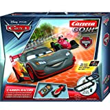 Carrera GO!!! Disney/Pixar Cars CARBON Racers Slot Car Race Track - 1:43 Scale Analog System - Includes 2 Cars with LED Lights and 2 Controllers - Electric-Powered Set for Ages 6 and Up
