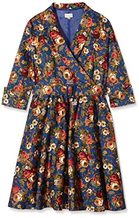 Lindy Bop Womens Vivi Dark Blue Floral Dress, ...