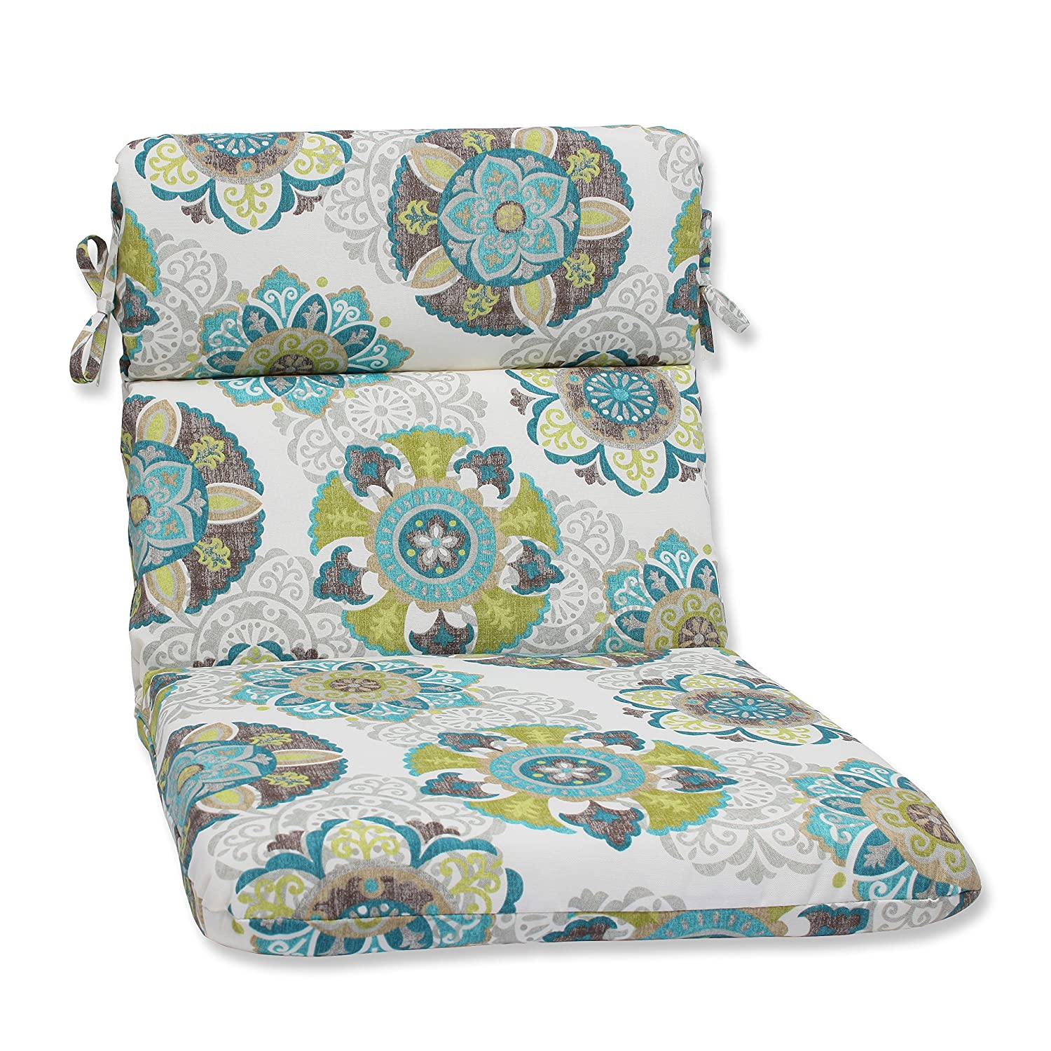 Pillow Perfect Outdoor Allodala Rounded Corners Chair Cushion, Oasis