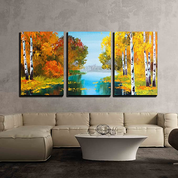 Wall26 3 Piece Canvas Wall Art Oil Painting Style Landscape Birch Forest Near The River Modern Home Art Stretched And Framed Ready To Hang 24 X36 X3 Panels Home Kitchen
