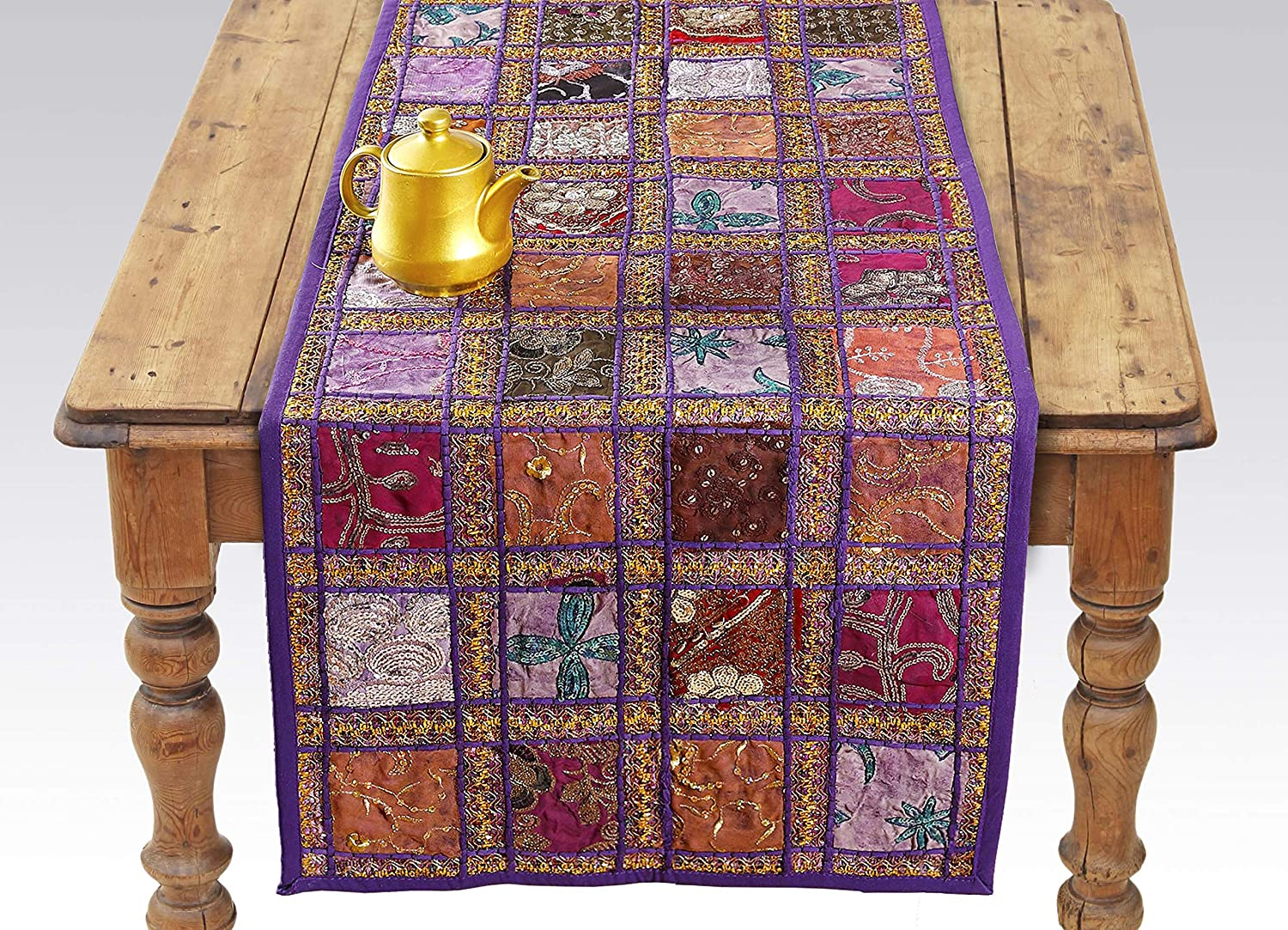 Purple Patchwork Embroidered Table Runner - Indian Sequin Cotton Boho Bohemian Hippie Patchwork Runner Tapestry Wall Hanging - Indian Decoration Tapestry Wedding Decor (Purple, 16 X 72 Inch)